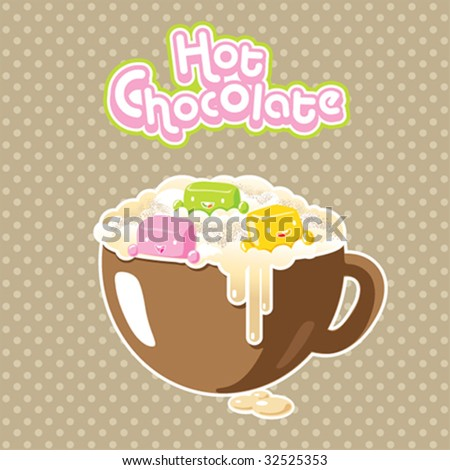Vector kawaii marshmallows in a hot chocolate - stock vector