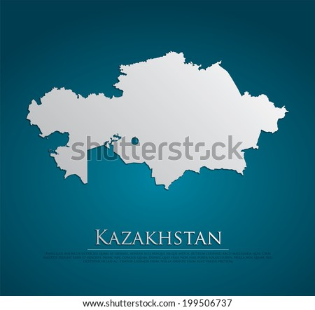 vector Kazakhstan Map card paper on blue background, high detailed - stock vector