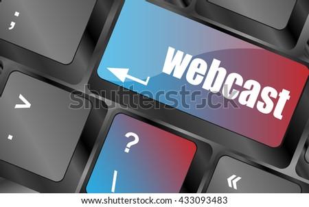 vector keyboard key with webcast web button keyboard keys - stock vector