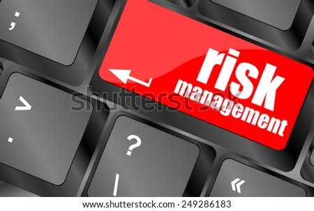 vector Keyboard with risk management button, internet concept - stock vector