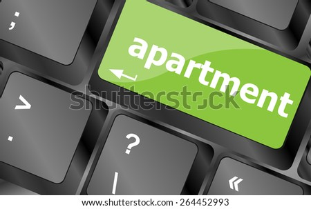 vector Keyboard with white Enter button, apartment word on it - stock vector