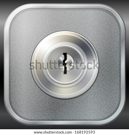 Vector keyhole in round lock, safety concept - stock vector