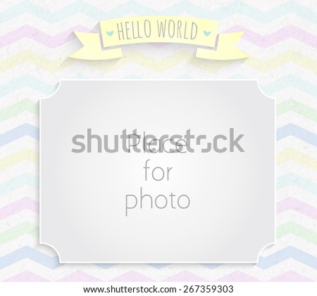 Vector kids page photo frame for album scrapbooking. Design template with gray watercolor background with rainbow zigzag pattern - stock vector