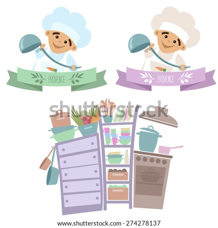 Vector kitchen and two logos with a little chef. - stock vector