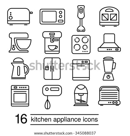 vector kitchen appliance icons - stock vector