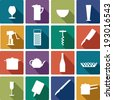 vector kitchen color icons - stock vector