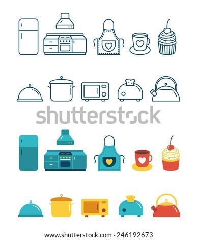 Vector Kitchen icon set - stock vector