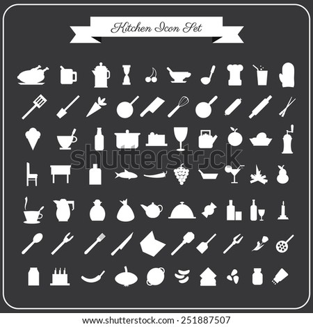 Vector 70 kitchen icons set for web in flat design on a dark grey background - stock vector