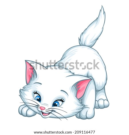 Vector kitten playing cartoon cute happy white cat smiling character cat illustration isolated on white background - stock vector