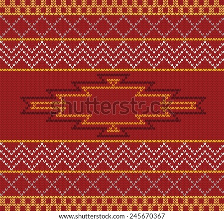 Vector knitted aztec seamless background. Can be used for web pages, identity style, printing, invitations, banners, cards. - stock vector
