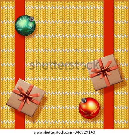vector knitted red christmas ornamental background - stock vector