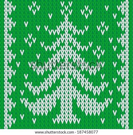 vector knitting seamless background: christmas tree - stock vector