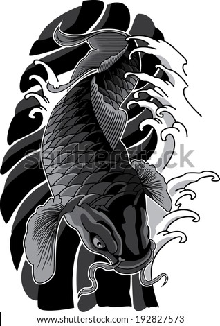 Koi tattoo stock photos images pictures shutterstock for Black and white koi