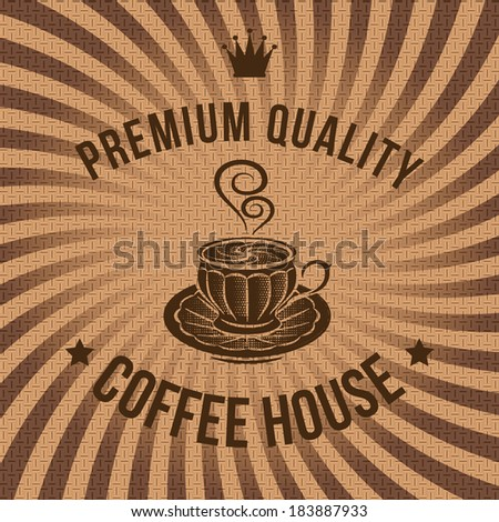 vector label for coffee on background with sacking - stock vector
