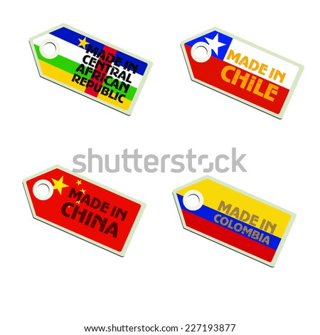 vector label Made in Central African Republic, Chile, China, Colombia,  - stock vector