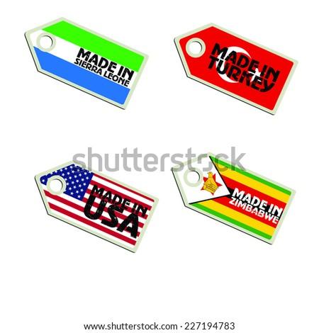 vector label Made in  Sierra Leone, Turkey, USA, Zimbabwe,  - stock vector