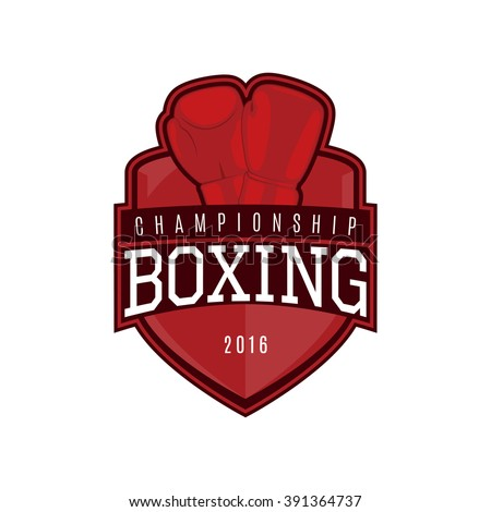 Vector label of boxing. Logo of boxing championship. Vector illustration. - stock vector