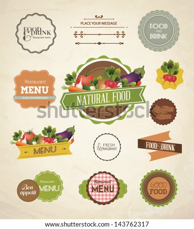Vector label set for restaurant menu design. Set of Calligraphic titles and symbols for restaurant design. - stock vector