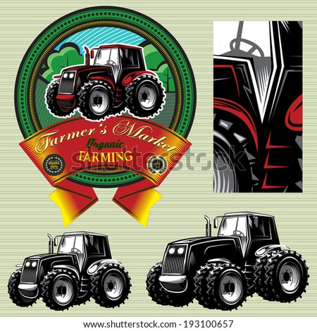 vector label with a tractor for livestock and crop - stock vector