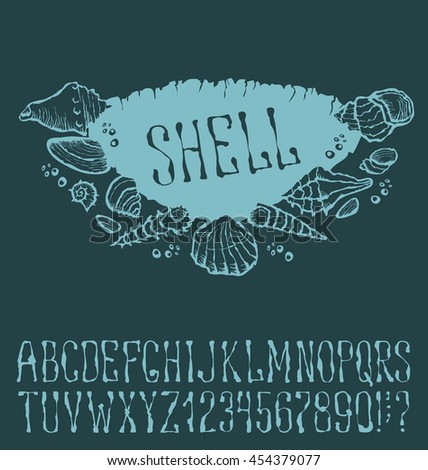 Vector label with hand made font. With inscription Shell - stock vector