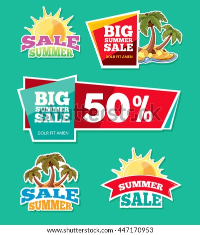 vector labels set for advertizing. Emblems for big summer sales. Pictures isolate on dark background - stock vector