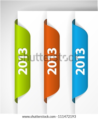 Vector 2013 Labels / Stickers on the edge of the (web) page - stock vector