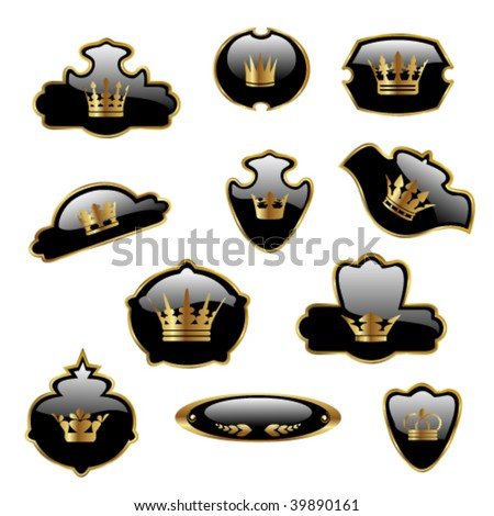 Vector labels with gold crowns - stock vector