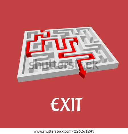Vector labyrinth or maze puzzle with a red arrow showing the solution and the word Exit below - stock vector