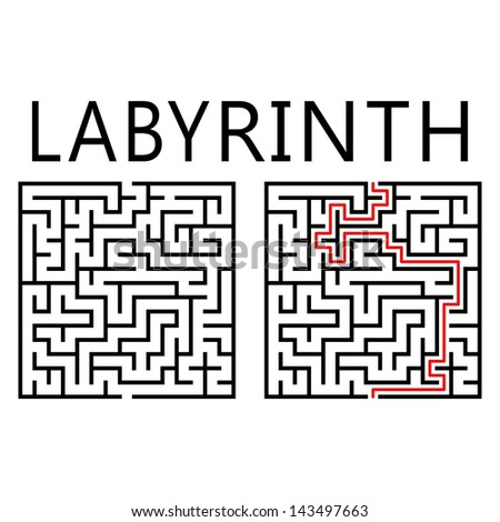 Vector labyrinth with solution on white background - stock vector