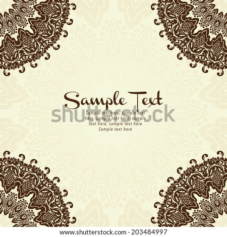 Vector lace card in east style on moroccan seamless background. Light ornamental pattern for wedding invitations, greeting cards - stock vector