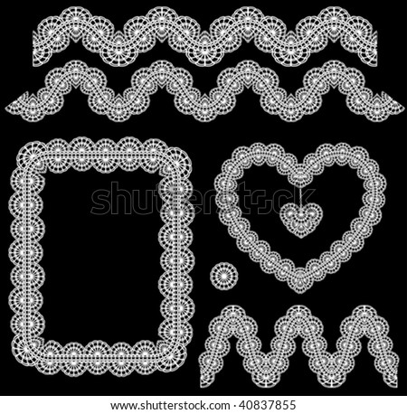 vector lace elements ( set 5 ) - stock vector