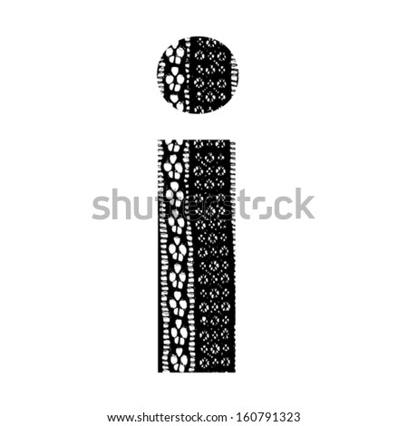 Vector lace font - letter i - stock vector