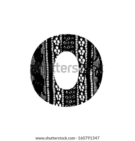 Vector lace font - letter o - stock vector