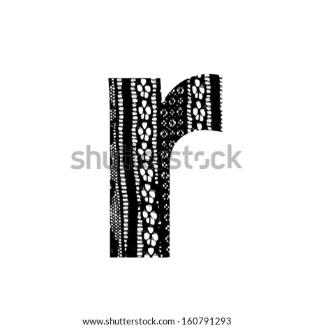 Vector lace font - letter r - stock vector