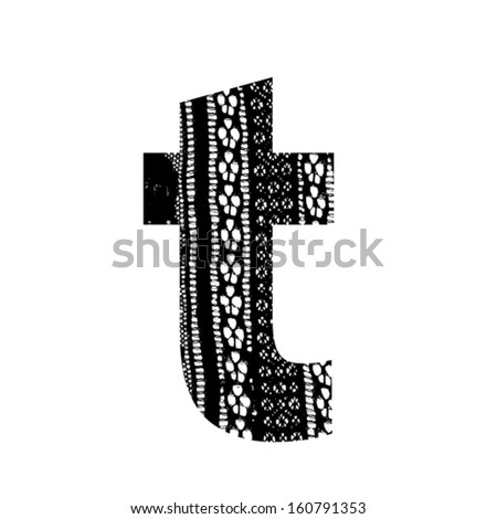 Vector lace font - letter t - stock vector