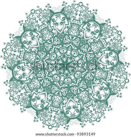 Vector lace. Ornamental round lace pattern. Circle ornament, ornamental round lace. Circle lace ornament, round ornamental geometric doily pattern - stock vector
