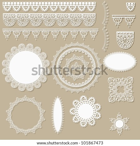 vector lacy scrapbook design elements, can be used as napkins, borders, ribbons and other decorations - stock vector