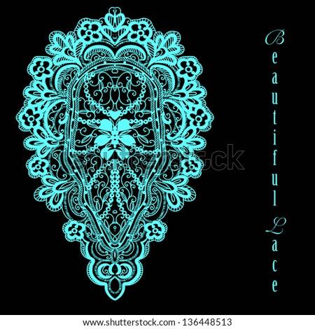 vector lacy vintage floral design - stock vector