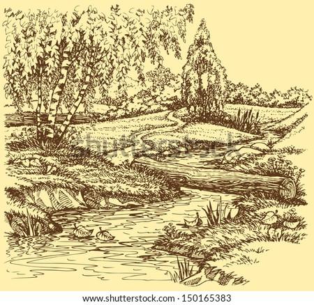 Vector landscape. Autumn birch trees near the trail over the creek - stock vector