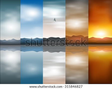 vector landscape backgrounds - stock vector