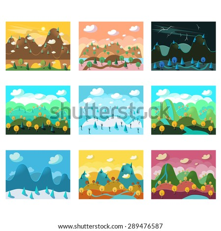 Vector landscape cartoon seamless backgrounds set for game - stock vector