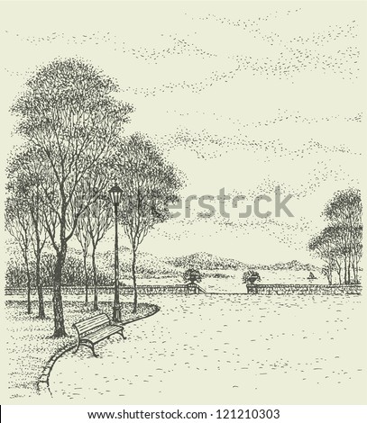 Vector landscape city park. Bench near the lantern under the tall trees near the descent to the sea - stock vector