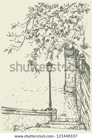 Vector landscape. Drooping branches and fall maple leaves on the steps leading to the water stairs to Old Quay - stock vector