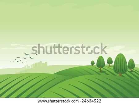 vector landscape illustration. - stock vector