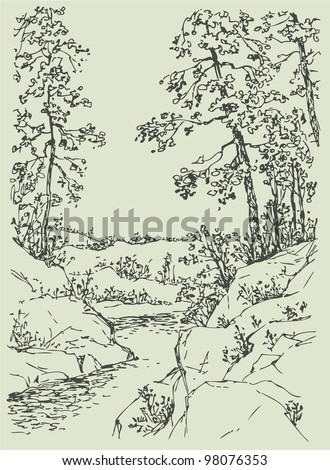 Vector landscape  Sketch a mountain stream flowing between rocky    Mountain Landscape Outline