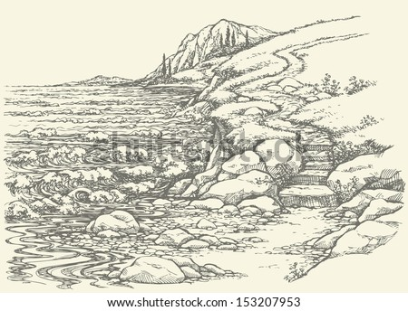 how to draw a hill landscape