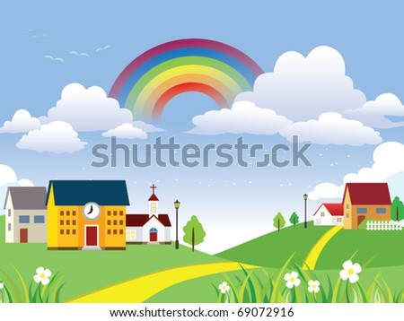 Vector Landscape with rainbow - stock vector
