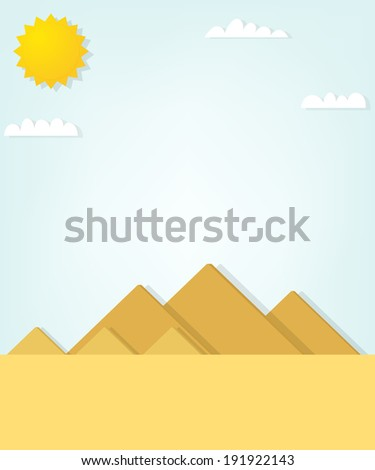 vector landscape with the Egyptian pyramids - stock vector