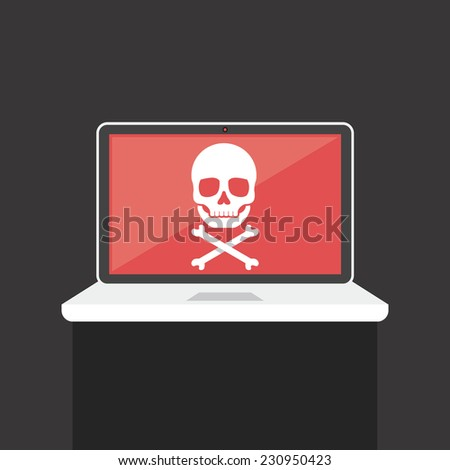 Vector Laptop with White Skull on the Screen. Creative flat icon illustration with shadow. Modern style concept. Trendy graphic design element. Isolated on dark gray background. - stock vector