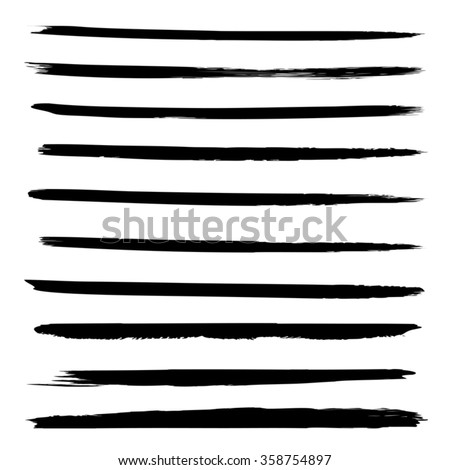 Vector large collection or set of artistic black paint hand made creative brush strokes isolated on white background, metaphor to art, grunge or grungy, sketch, education or abstract design - stock vector
